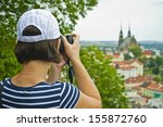 young woman in big town - stock photo