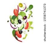 greek salad common ingredients  ... | Shutterstock .eps vector #1558741373