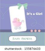 baby shower card  for baby girl ... | Shutterstock .eps vector #155876633