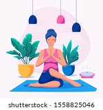 woman doing yoga at home vector ... | Shutterstock .eps vector #1558825046
