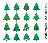 set of christmas tree vector... | Shutterstock .eps vector #1558886543