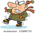 cartoon,character,clipart,clumsy,comic,concept,conceptual,drawing,ice,ice skates,illustration,leisure time,male,man,scared