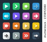 arrows icon set flat shaded... | Shutterstock .eps vector #155892080