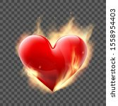 red heart burns with fire.... | Shutterstock .eps vector #1558954403