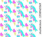 unicorn and magic seamless...   Shutterstock . vector #1558965569