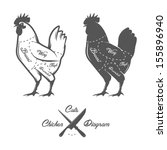 chicken cuts diagram | Shutterstock .eps vector #155896940