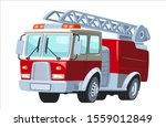 Cartoon Red Fire Truck Car...