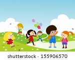 kids playing | Shutterstock .eps vector #155906570