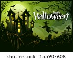 halloween background with witch ... | Shutterstock .eps vector #155907608