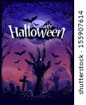 halloween background with... | Shutterstock .eps vector #155907614