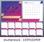 vector 12 month calendar 2020... | Shutterstock .eps vector #1559102909