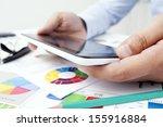 finger pointing on digital...   Shutterstock . vector #155916884