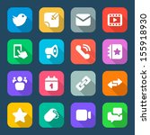 set color flat icons for social ...