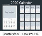 2020 white simple calendar... | Shutterstock .eps vector #1559191643