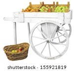 White Wooden Cart And Basket...