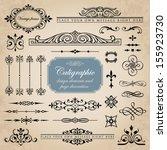 calligraphic design elements... | Shutterstock .eps vector #155923730