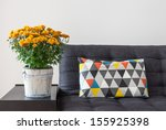bright cushion on a sofa  and... | Shutterstock . vector #155925398