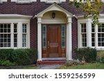 Brick House With Elegant Wooden ...