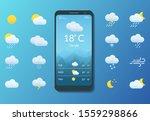 meteorology. smartphone with... | Shutterstock .eps vector #1559298866