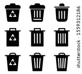 set of trash icon with flat...