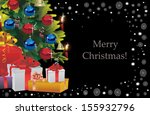 decorated christmas tree on... | Shutterstock .eps vector #155932796