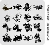 set of funny contour animals   Shutterstock . vector #155935523