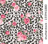 cute rose seamless mix leopard vector pattern background