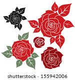 Stock vector red rose isolated flowers on white background vector illustration 155942006