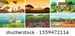 six scenes with animals at...   Shutterstock .eps vector #1559472116