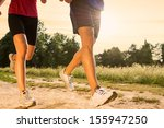 legs view of a couple jogging... | Shutterstock . vector #155947250