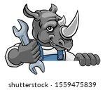 A Rhino Cartoon Animal Mascot...