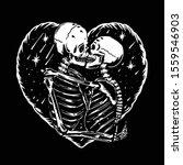 skull love kiss illustration... | Shutterstock .eps vector #1559546903