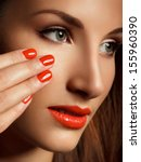 beautiful woman with red nails. ... | Shutterstock . vector #155960390