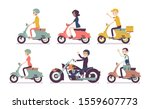 biker and scooter drivers. male ... | Shutterstock .eps vector #1559607773