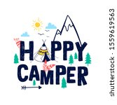 doodle slogan and camp elements ... | Shutterstock .eps vector #1559619563