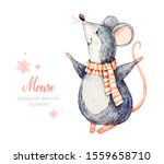 Mouse In A Scarf. Cute Kind...