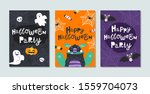 set of halloween cards with... | Shutterstock .eps vector #1559704073