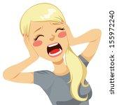 shocked blonde woman screaming... | Shutterstock .eps vector #155972240