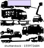 truck silhouettes set   vector | Shutterstock .eps vector #155972684