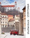 Stary Hrad - ancient castle and vintage car on old street in Bratislava, Slovakia  - stock photo