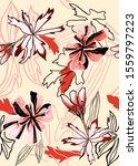 flowers and geo print design | Shutterstock . vector #1559797223