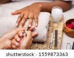 Close Up Of Manicurist Hands...