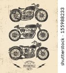 vintage motorcycle set | Shutterstock .eps vector #155988233