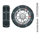 snow chains on tire. tire with...   Shutterstock .eps vector #1559932040