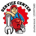 Mechanic Pose With Big Wrench