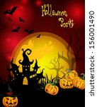 halloween card   vector  | Shutterstock .eps vector #156001490