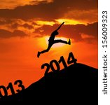 man jumping over 2014 number to ... | Shutterstock . vector #156009323