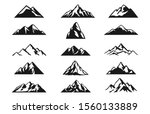 Design a illustrator vector of Mountain Hill Silhouette Collections set isolated on white background. - stock photo