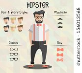 stylized hipster character set
