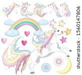 baby girl unicorn scrapbook set.... | Shutterstock .eps vector #1560147806